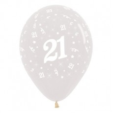Teardrop Crystal Clear 21st Birthday Latex Balloons 30cm Pack of 6