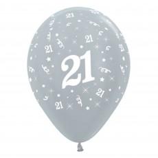 21st Birthday Metallic Silver  Latex Balloons