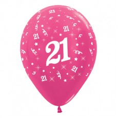 Teardrop Metallic Fuchsia 21st Birthday Latex Balloons 30cm Pack of 6