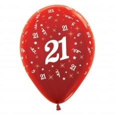 21st Birthday Metallic Red  Latex Balloons