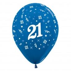 Teardrop Metallic Blue 21st Birthday Latex Balloons 30cm Pack of 6