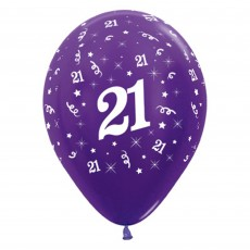 21st Birthday Metallic Purple Violet  Latex Balloons