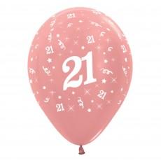Teardrop Metallic Rose Gold 21st Birthday Latex Balloons 30cm Pack of 6