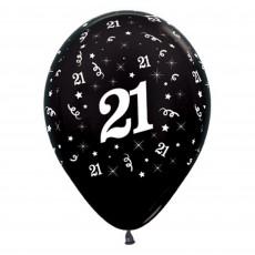 Teardrop Metallic Black 21st Birthday Latex Balloons 30cm Pack of 6
