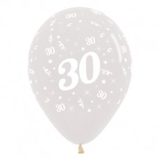Teardrop Crystal Clear 30th Birthday Latex Balloons 30cm Pack of 6