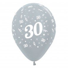 30th Birthday Satin Pearl Silver  Latex Balloons