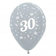 Teardrop Satin Pearl Silver 30th Birthday Latex Balloons 30cm Pack of 6