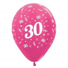 Teardrop Metallic Fuchsia 30th Birthday Latex Balloons 30cm Pack of 6