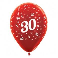 30th Birthday Metallic Red  Latex Balloons