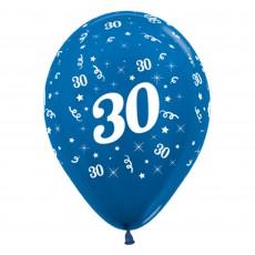 Teardrop Metallic Blue 30th Birthday Latex Balloons 30cm Pack of 6