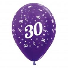 30th Birthday Metallic Purple Violet  Latex Balloons