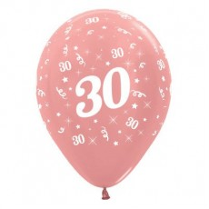 Teardrop Metallic Rose Gold 30th Birthday Latex Balloons 30cm Pack of 6