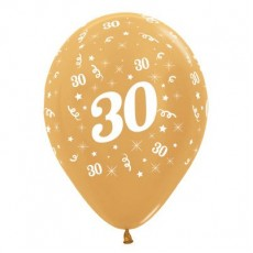 Teardrop Metallic Gold 30th Birthday Latex Balloons 30cm Pack of 6