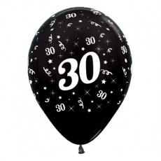 Teardrop Metallic Black 30th Birthday Latex Balloons 30cm Pack of 6