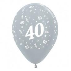 Teardrop Satin Pearl Silver 40th Birthday Latex Balloons 30cm Pack of 6