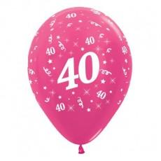 Teardrop Metallic Fuchsia 40th Birthday Latex Balloons 30cm Pack of 6