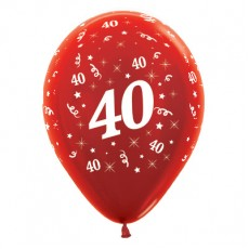 40th Birthday Metallic Red  Latex Balloons