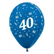 Teardrop Metallic Blue 40th Birthday Latex Balloons 30cm Pack of 6