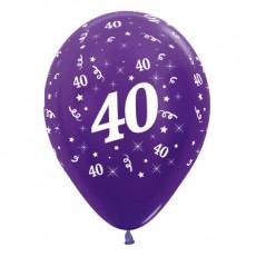 40th Birthday Metallic Purple Violet  Latex Balloons