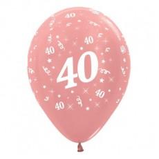 40th Birthday Metallic Rose Gold  Latex Balloons