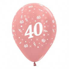 Teardrop Metallic Rose Gold 40th Birthday Latex Balloons 30cm Pack of 6