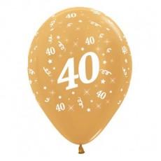 Teardrop Metallic Gold 40th Birthday Latex Balloons 30cm Pack of 6