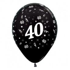 Teardrop Metallic Black 40th Birthday Latex Balloons 30cm Pack of 6