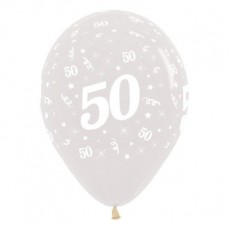 Teardrop Crystal Clear 50th Birthday Latex Balloons 30cm Pack of 6