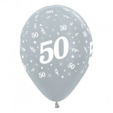 50th Birthday Satin Pearl Silver  Latex Balloons