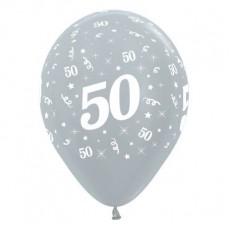 Teardrop Satin Pearl Silver 50th Birthday Latex Balloons 30cm Pack of 6