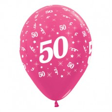 Teardrop Metallic Fuchsia 50th Birthday Latex Balloons 30cm Pack of 6