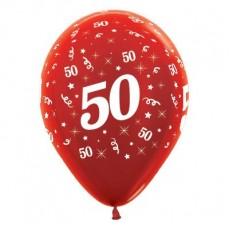50th Birthday Metallic Red  Latex Balloons