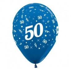 Teardrop Metallic Blue 50th Birthday Latex Balloons 30cm Pack of 6