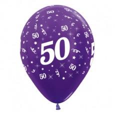50th Birthday Metallic Purple Violet  Latex Balloons
