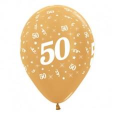 Teardrop Metallic Gold 50th Birthday Latex Balloons 30cm Pack of 6