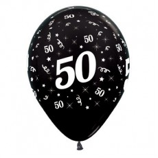 50th Birthday Metallic Black  Latex Balloons