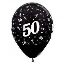 Teardrop Metallic Black 50th Birthday Latex Balloons 30cm Pack of 6