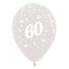 60th Birthday Crystal Clear  Latex Balloons