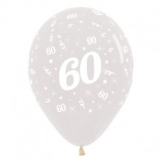 Teardrop Crystal Clear 60th Birthday Latex Balloons 30cm Pack of 6