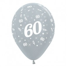 60th Birthday Metallic Pearl Silver  Latex Balloons