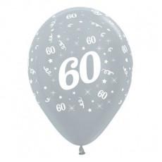 60th Birthday Satin Pearl Silver  Latex Balloons