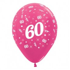 Teardrop Metallic Fuchsia 60th Birthday Latex Balloons 30cm Pack of 6