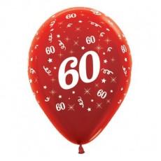 60th Birthday Metallic Red  Latex Balloons