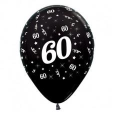 Teardrop Metallic Black 60th Birthday Latex Balloons 30cm Pack of 6