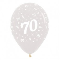 Teardrop Crystal Clear 70th Birthday Latex Balloons 30cm Pack of 6