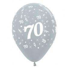 70th Birthday Metallic Pearl Silver  Latex Balloons