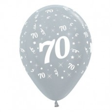 Teardrop Satin Pearl Silver 70th Birthday Latex Balloons 30cm Pack of 6