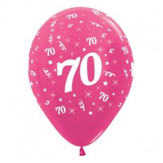 Teardrop Metallic Fuchsia 70th Birthday Latex Balloons 30cm Pack of 6