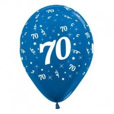 Teardrop Metallic Blue 70th Birthday Latex Balloons 30cm Pack of 6