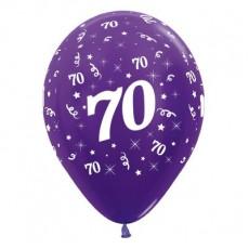 70th Birthday Metallic Purple Violet  Latex Balloons